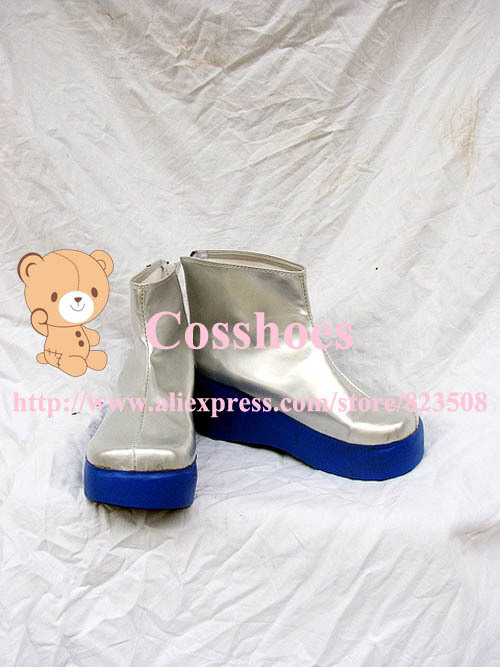 Custom made Silver and blue short Haku Shoes from vocaloid Cosplay