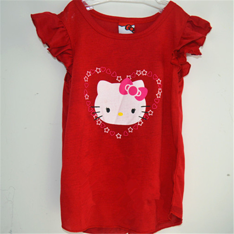 2016 kids girl clothes t-shirt clothes baby choses cotton kitty girl tops china cheap names top 100 children t shirts xst003 1p(China (Mainland))