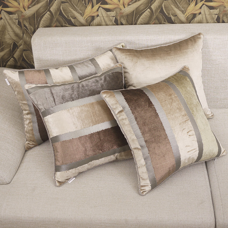 American beige striped elegant luxury countryside dark - Cojines para sofa blanco piel ...