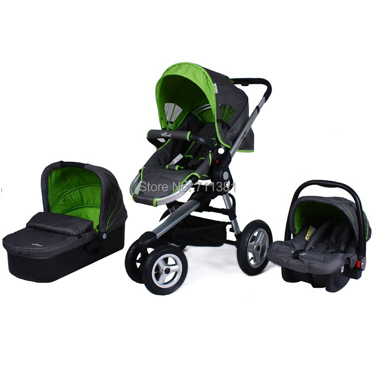 Free Shipping Lovely Baby Strollers 3 in 1 With car seat & carry cot Baby Pram In Green 3 in 1 Cost Baby Stroller Stores On Sale(China (Mainland))