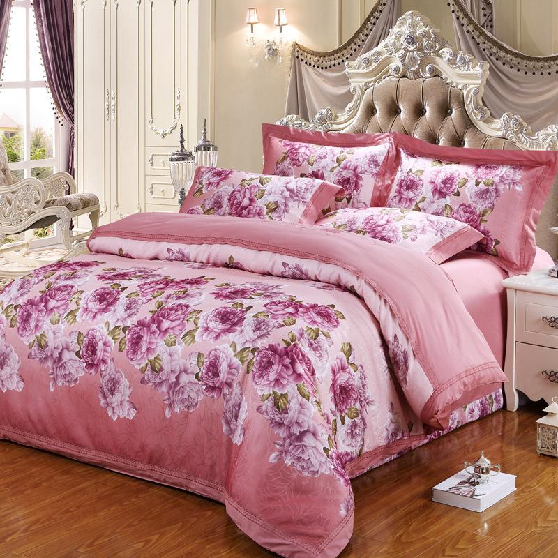 bedding set. 4PCS Pure color smooth satin silk textile comfortable cotton marriage celebration bedding set denim bedclothes duve(China (Mainland))