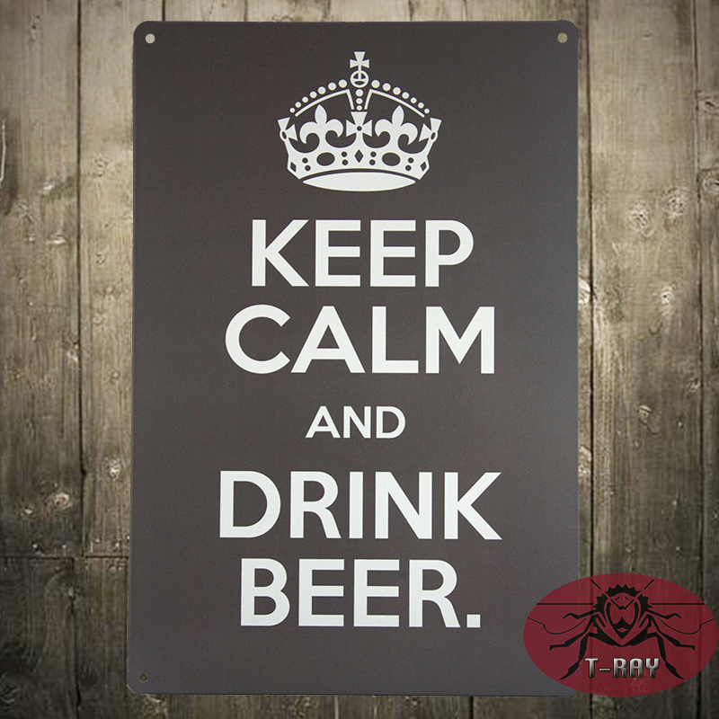Keep CALM and Drink Beer metal poster Art wall decor Garage man cave Vintage beer signs A-84(China (Mainland))