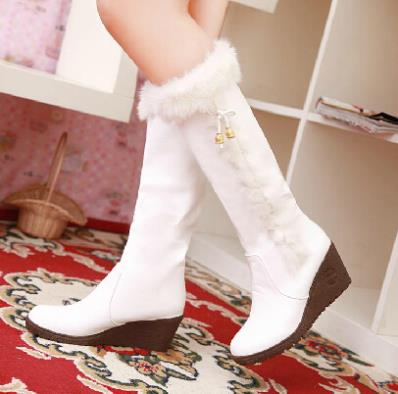 2014 Women Fasion Snow Boots Wedges Slip-On PU Soft Leather Knee-High Shoes Winter Rabbit Fur Boots 3 Colors Free Shipping(China (Mainland))