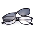 Gmei Optical 1613 Urltra Light TR90 Eyeglasses Frame with Polarized Clip on Sunshades for Women and