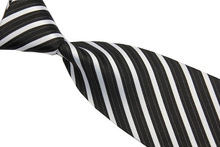 NT0526 White Black Stripes Classic Silk Polyester Man s Jacquard Woven Necktie BusinessCasual Knitting Ties Gravata