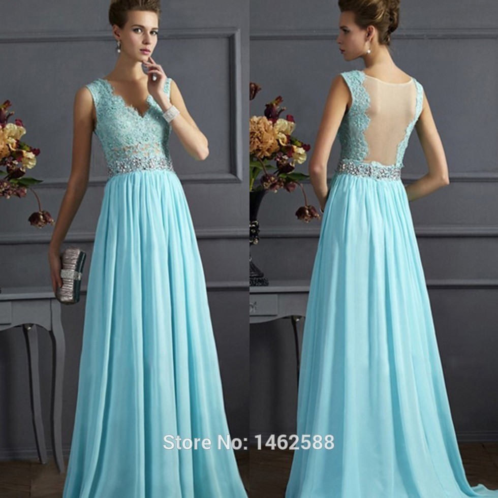 Light blue chiffon long prom dresses lace cap sleeves 2015 for Light blue lace wedding dress