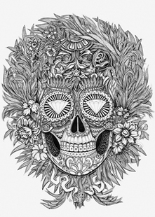 Min.order is $10(mix order)Exclusive Monochrome tattoo style complex diamond Skull Pattern Personalized laptop sticker[Single](China (Mainland))