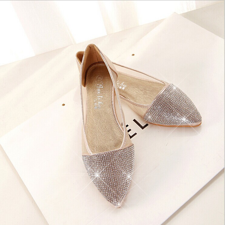 Zapatos Mujer Hot Sale Free Shipping The New 2015 Shining Diamond Flat Shoes Breathable Mesh Yarn Shallow Pointed Mouth Women's(China (Mainland))