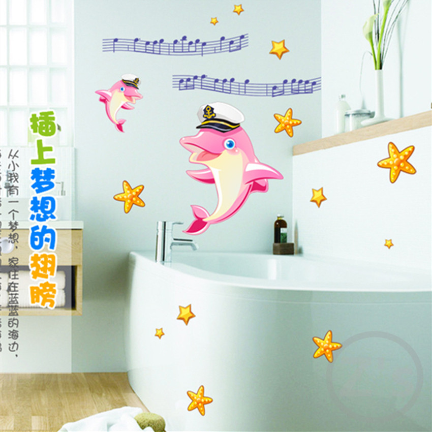 Dolphin fish bathroom decor sticker baby shower decoration for Baby shower wall mural