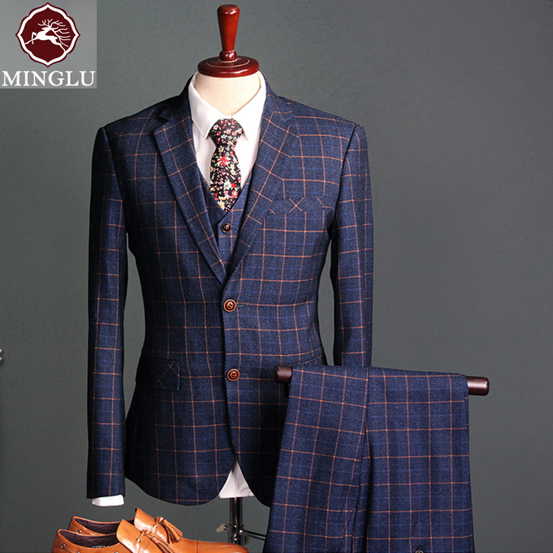 Free Shipping Check Fabrics Wedding Suit 2017 Business Affairs Suit Groom Tuxedos Custom Made Man Suit(jacket+pants+vest) S-2XL