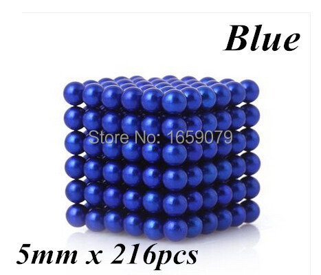Free shipping 5mm 216 pcs Blue Buckyballs Neo Cube Magic Cube Puzzle Magnetic Balls with metal bo(China (Mainland))