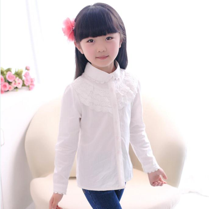 2014 spring female children's clothing peter pan collar long-sleeve shirt lace decoration girls blouses