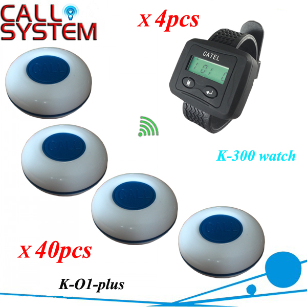 Restaurant Waiter Calling System For Guest Paging use in Cafe, 40 Tablel Bell K-O1-plus W 4pcs Wrist Watch Free shipping(China (Mainland))