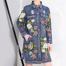 [XITAO] Europe 2016 autumn Ladies Flower embrodery clothes wash water cowboy long sleeved streetwear long jean shirt LLHE017(China (Mainland))