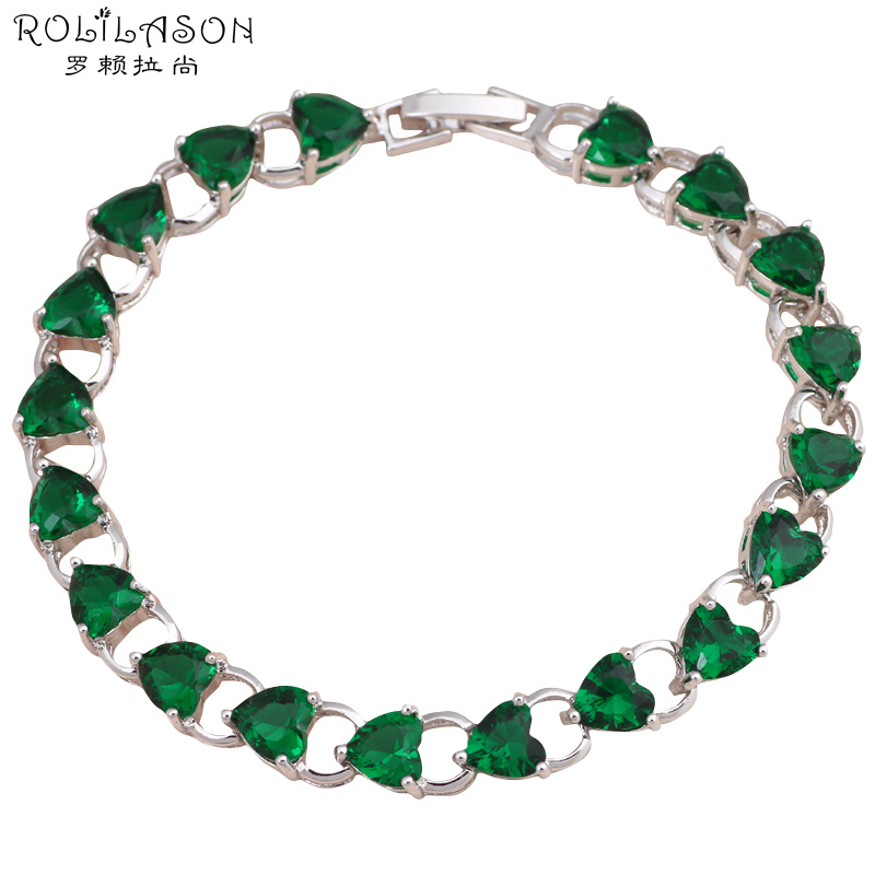 Top quality Peridot Bracelets for women Heart design Silver filled Green Crystal Wholesale & Retail fashion jewelry TBS761(China (Mainland))