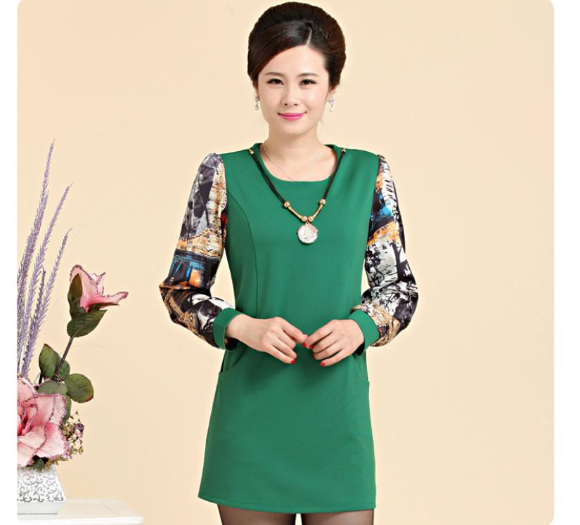 XL-XXXXL Large Size Women Dresses 2015 Spring Fashion Elegant Middle Age Mother Long Sleeve Print Mini Dress Match Ornaments(China (Mainland))