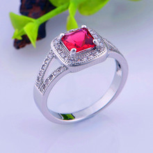 Sapphire Lab Crystal Rings Bijoux Women 2015 Jewelry Green Red White Large CZ Diamond Engagement Rings