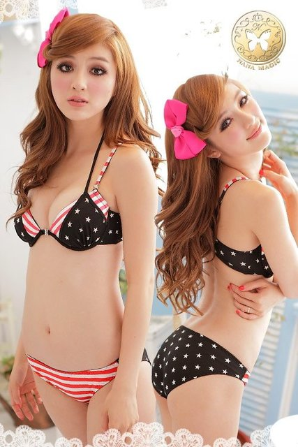 New 2012  Fashion Ladies's USA Flag Stripe + Star Design Push Up Sexy Bra Panty Underwear Sets H145