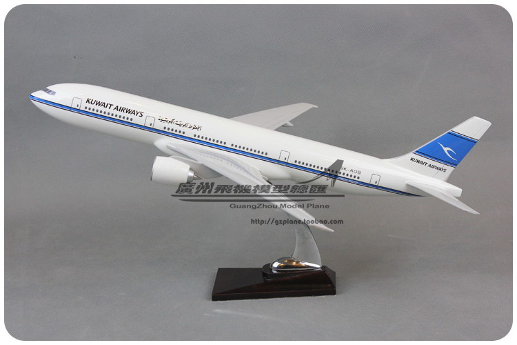47cm Resin Air Kuwait Airways Boeing B777 Airlines Plane Model Airplane Model Toy Collections Decoration Gift(China (Mainland))