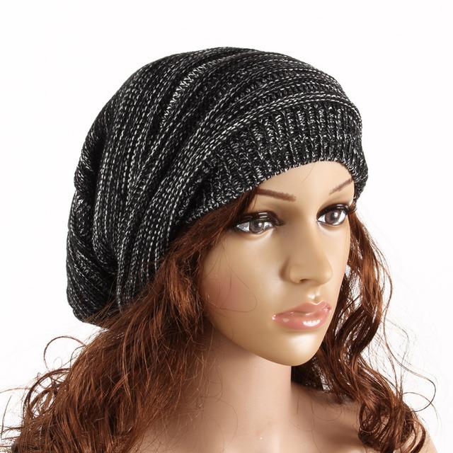 Новинка зима женщины сплошной цвет вязаная шапка свободного покроя шапочки хип-хоп-стрит ...