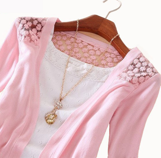 2015 Fashion Women Cardigan Sale Lace Sweet Candy Pure Color Slim Crochet Knit Blouse Sweater Cardigan
