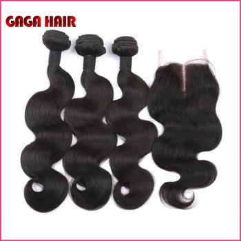 Peruvian Virgin Hair Body Wave With Lace Closure 4pcs/lot  3 Bundles Peruvian Virgin Human Hair Weave with 1pc Lace Top Closure