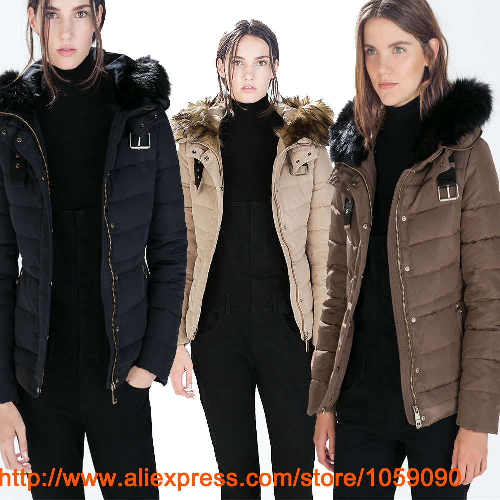 2014 Women abrigo chaqueta Winter Short Puffer Jacket With Buckle Fur Collar Hooded Down Jacket Coat 8073/225 EMS Free ShippingОдежда и ак�е��уары<br><br><br>Aliexpress