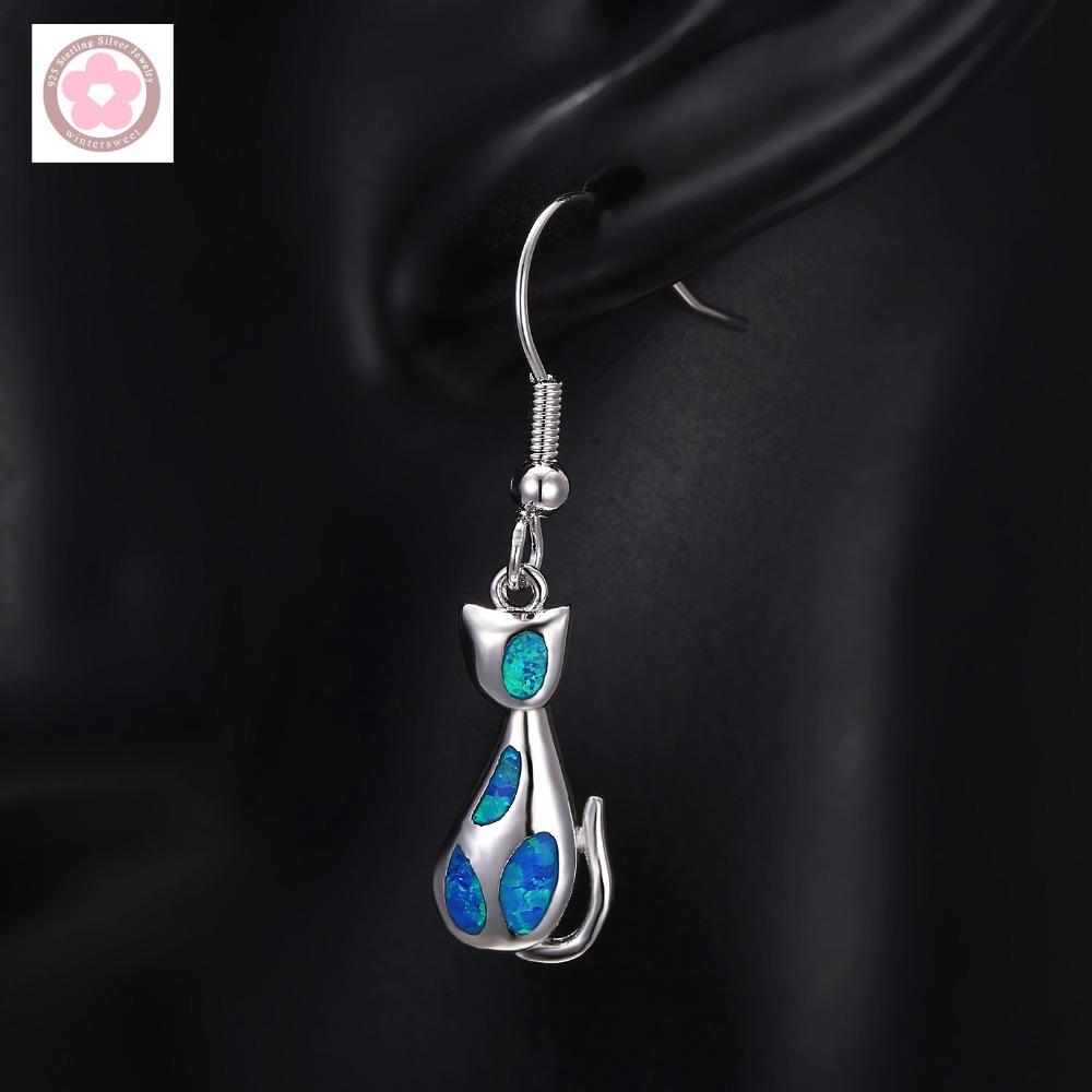 Cat Design Blue Opal Platinum Plated Women Dangle Earrings Fashion Jewelry S0035(China (Mainland))