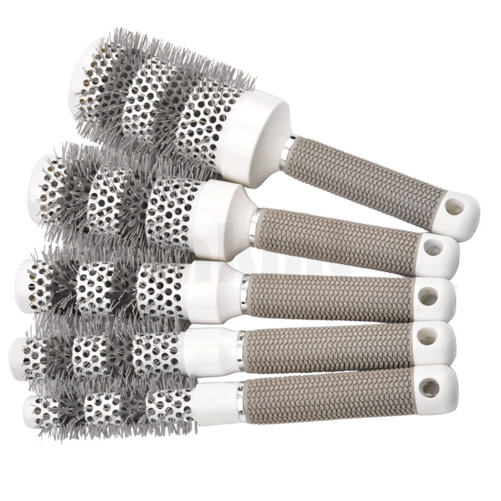 2016 New High Quality Round Comb Aluminum Barrel Hair Dressing Salon Styling Tools Brushes Hairbrush with Rubber Handle(China (Mainland))