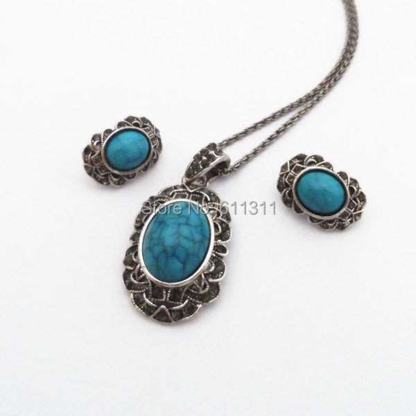 Hot Selling Vintage Fashion Turquoise Necklace And Earrings Jewelry Set Free Shipping Elegant Jewelry For Party Clip Earrings(China (Mainland))