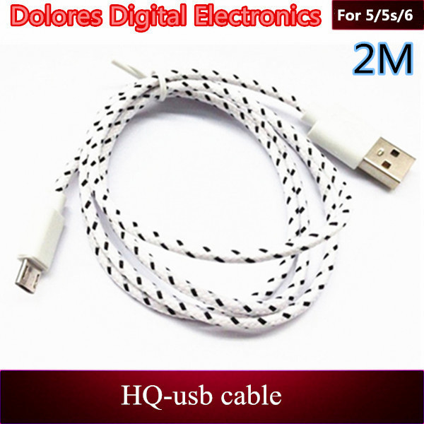 USB cable supplier wholesale good quality 2M/6FT Braided Nylon round charging cable for iphone6 plus 5 5s 5c ios 8 mixed colors(China (Mainland))