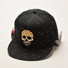 Bohemian Hip Black Skull Hop Baseball Cap Women Men Black Dot Hats Snapback Casual Caps(China (Mainland))