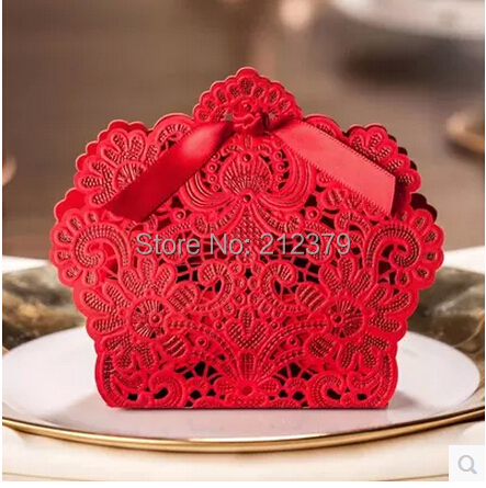100pcs new hollow lace Chinese candy box wedding ideas small gift boxes only sml red wedding candy bag(China (Mainland))