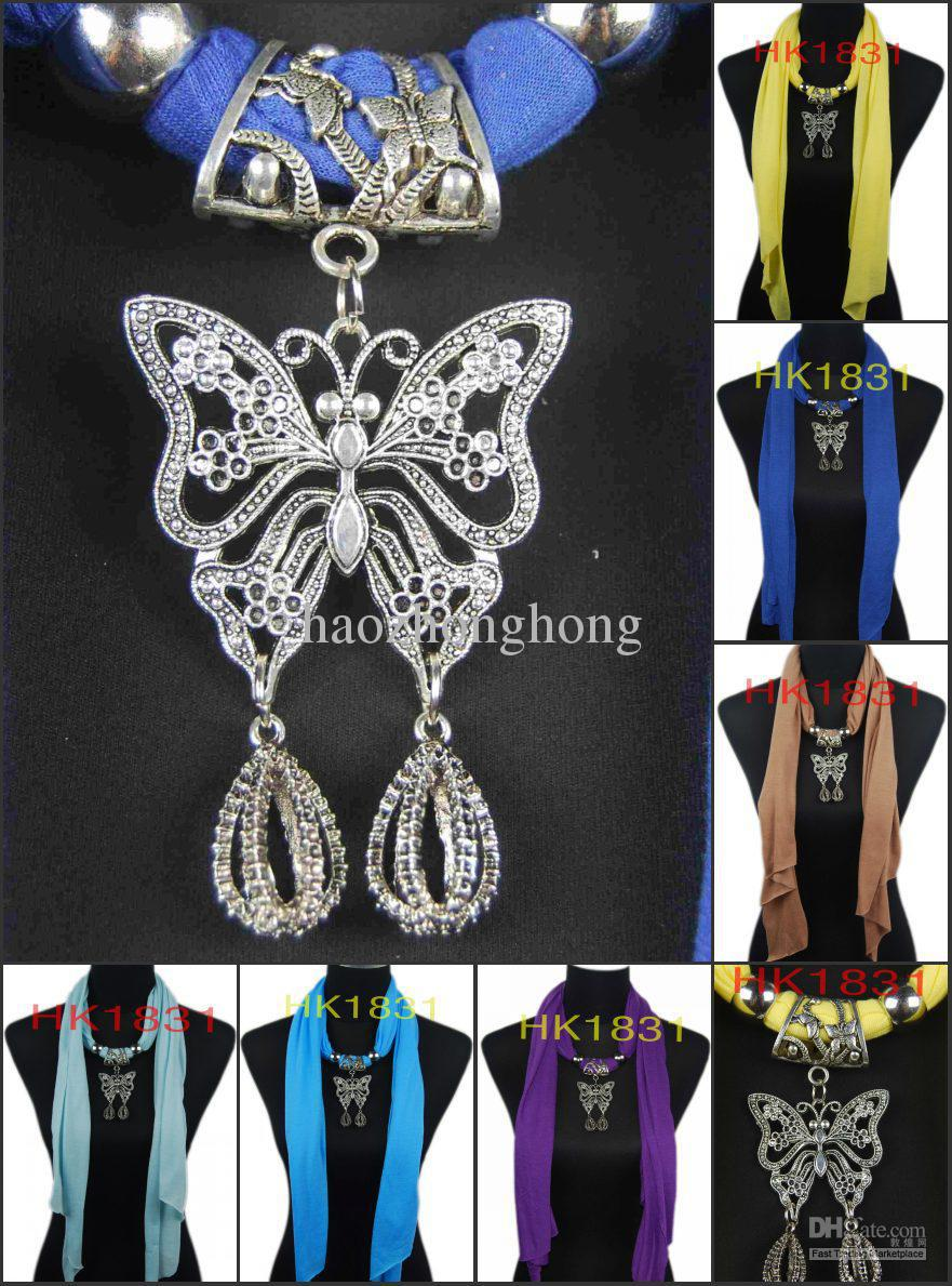 2015 Scarf Women From India Winter Scarf Monroe Wholesale - Fashion Jewelry Pendant Necklace Butterfly Charm Beads Mix Hk1831(China (Mainland))