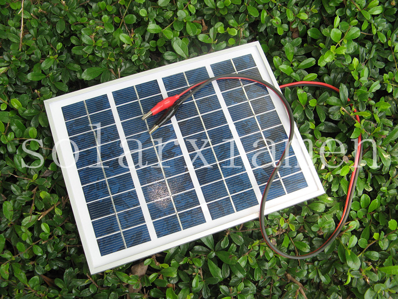 5W polycrystalline silicon solar panel 1 noodle alligator clip charger 12V battery charger(China (Mainland))