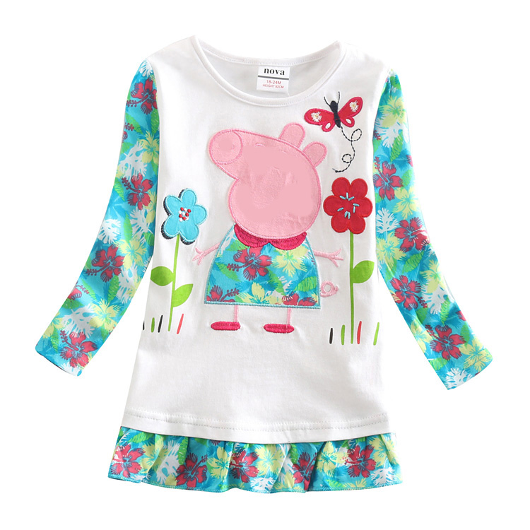 2014 new fashion baby peppa pig blouse little girl blouse kids girl blouse girl embroidery causal o-neck T shirts F4093