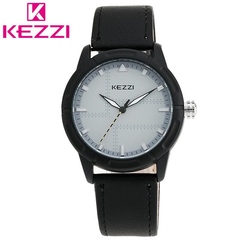 2016 KEZZI Men New Fashion Luxury Brand Watches Male Leather Strap Quartz Wristwatches Clocks Male Relogio Masculino K-1460
