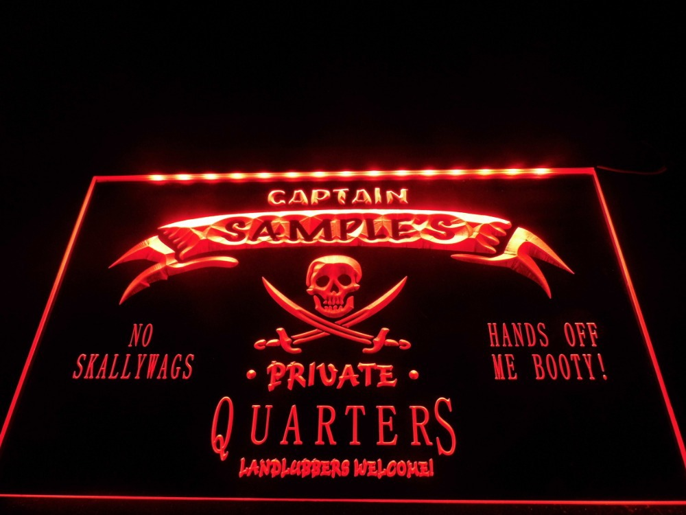 Personalized Man Cave Neon Signs : Dz name personalized custom private quarters pirate man