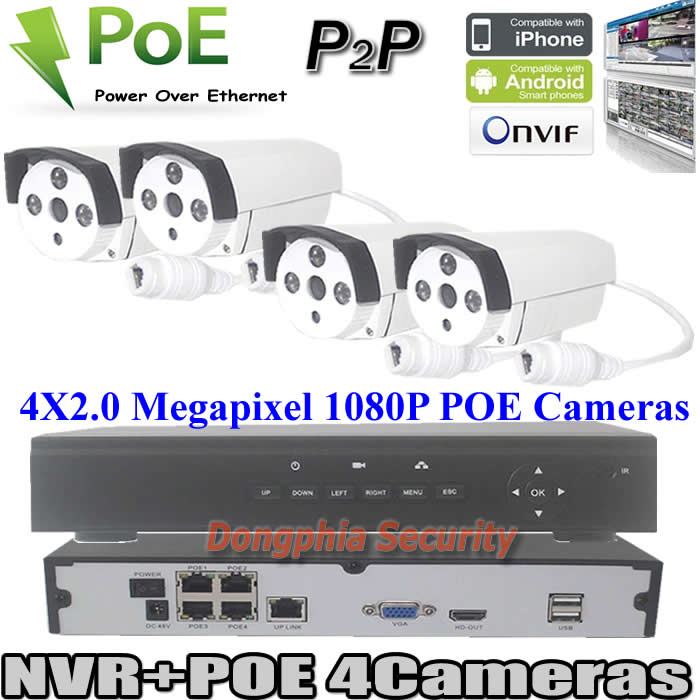 Easy to use cctv 4CH POE CCTV Kits H.264 NVR HD 1080P Camera POE IP Surveillance Systems 4CH NVR Plug and Play P2P Onvif Support<br><br>Aliexpress
