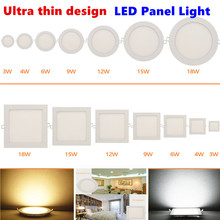 Ultra thin design 3W 6W 9W 12W 15W 18W LED ceiling recessed grid downlight / slim square&round panel light free shipping(China (Mainland))