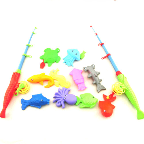 12pcs kids fishing toy rod fish model kid children baby for Toddler fishing pole toy