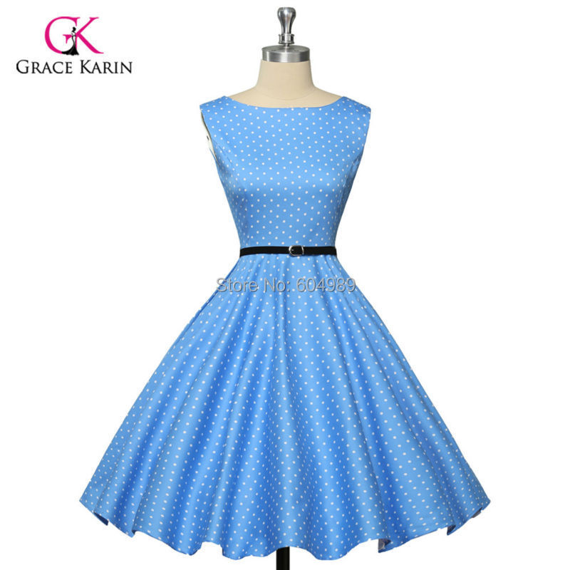 Гаджет   Grace Karin 2014 Women Print Vintage 50s 60s Audrey hepburn Rockabilly Pin-up Swing Retro Polka Dot Casual Party Dress CL6086 None Одежда и аксессуары