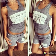 The new block letters printed short-sleeved casual sportswear suit