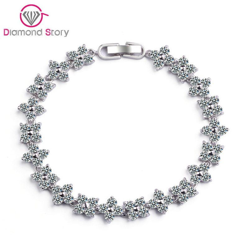Christmas Hot Sell! Fashion AAA Cubic Zirconia Bracelet Clear Zircon Bracelet Bangles White Gold Plated