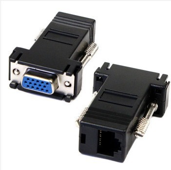 10PCS/LOT 15PIN VGA to RJ45 connector New VGA Extender Female To Lan Cat5 Cat5e RJ45 Ethernet Female Adapter(China (Mainland))