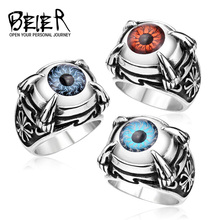New Arrival Super Fashion Stainless Steel Fashion Man's Jewelry Four Claw Eye Ring Punk Biker Retro  BR8-034US size(China (Mainland))