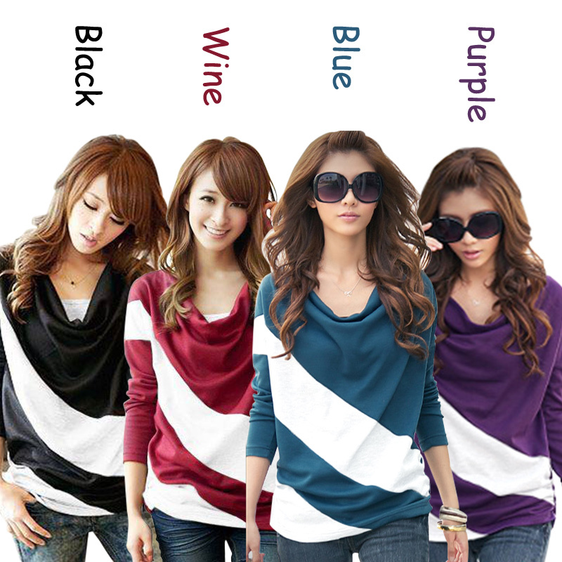 Fashion Women 2015 Clothes Spring Bat Sleeve Stitching Long Sleeves T shirts Patchwork Stripe Casual Tops