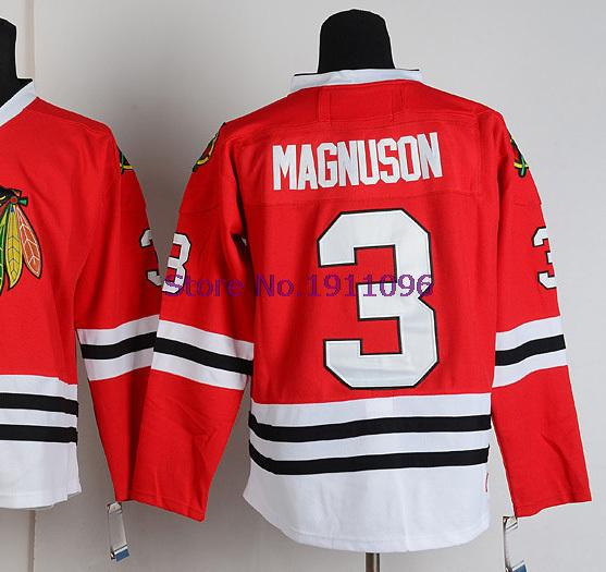 Cheap Chicago Blackhawks Hockey Jerseys Throwback #3 Keith Magnuson Jersey Home Red CCM Vintage V NECK Authentic Stitched Jersey