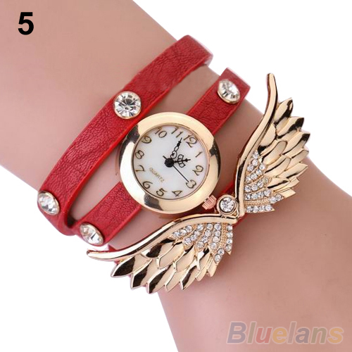 Womens Vintage Angel Wings Pendant Rhinestone Leather Bracelet Quartz Wrist Watch 02PI<br><br>Aliexpress
