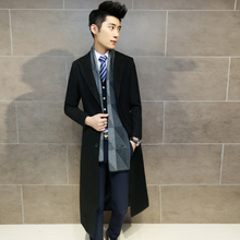 Free Shipping 2015 Fashion Solid Long Woolen Coat Men Slim Autumn Thin Overcoat Worsted Casual Simple Style Wool Jacket 13M0477(China (Mainland))